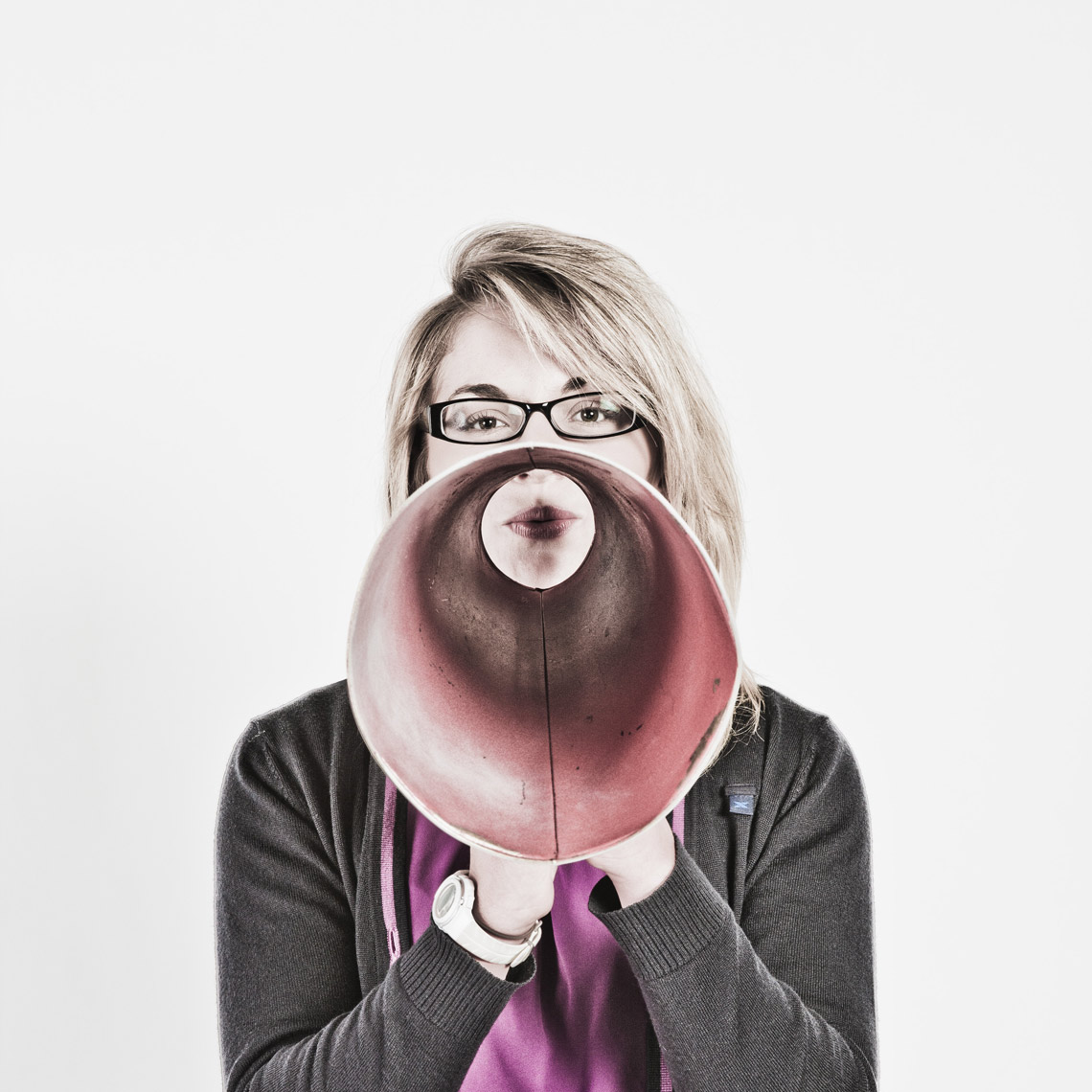 Office lady with megaphone