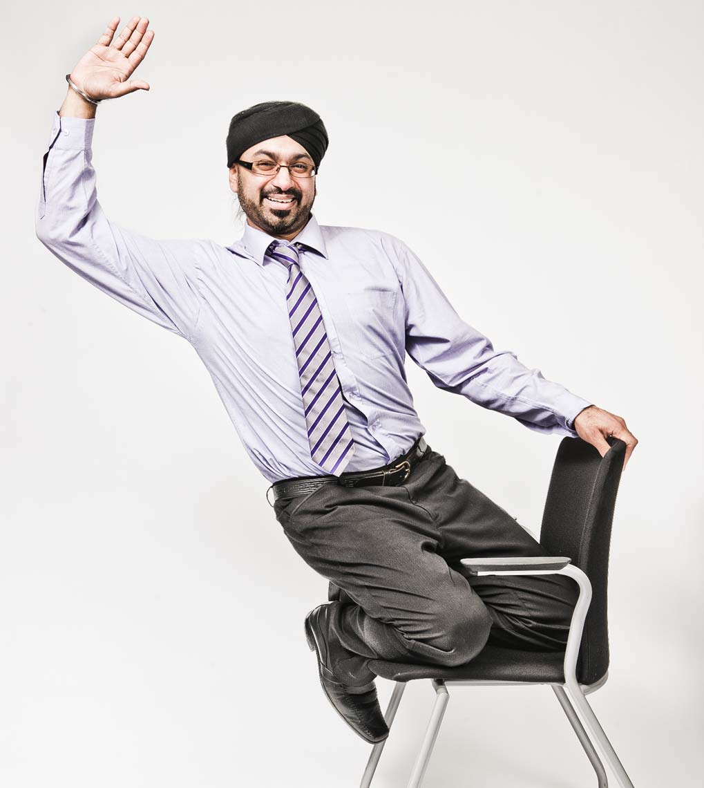 Sikh office worker on chair