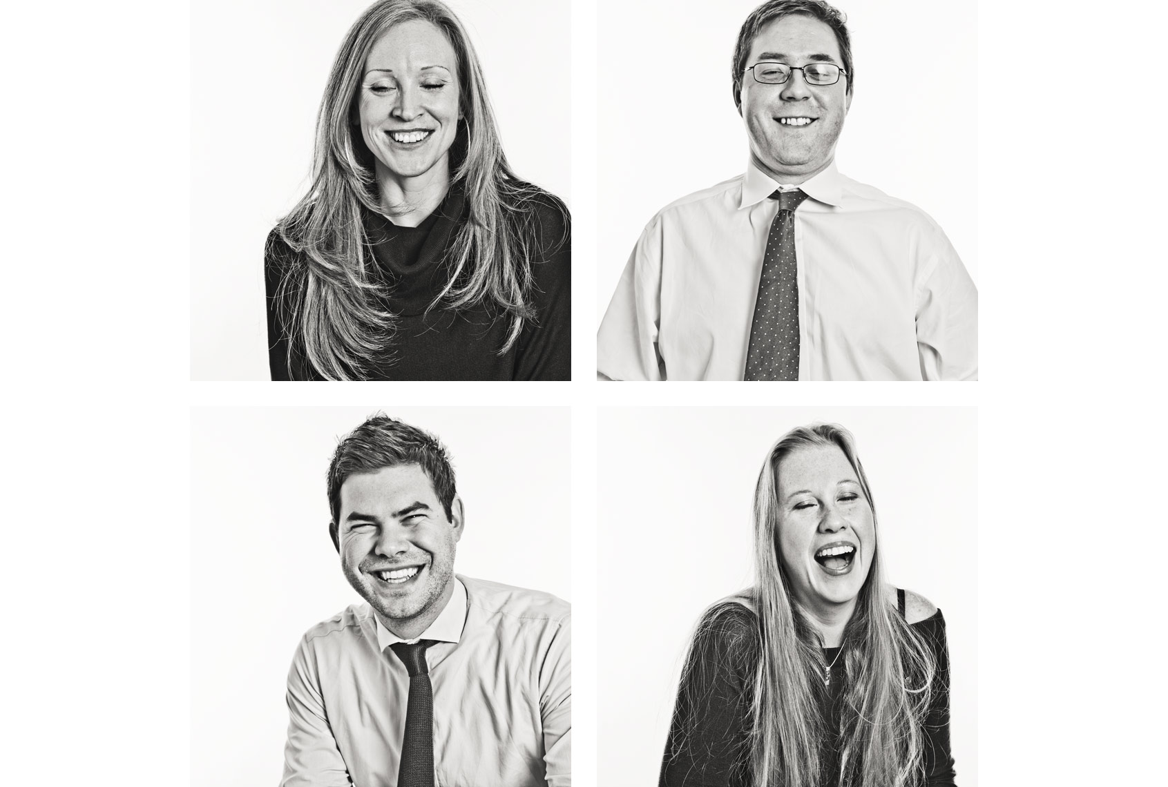 Four laughing people